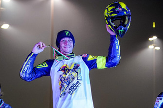Valentino Rossi celebrates his victory
