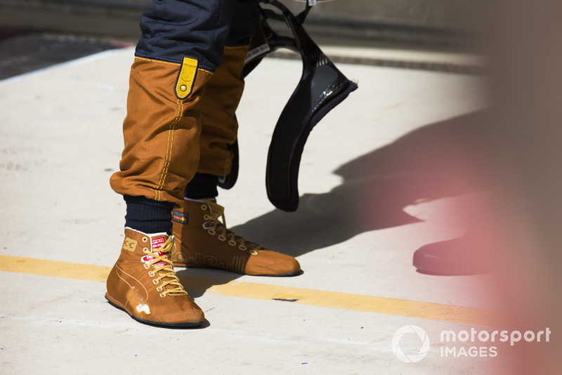 Worn out special John Booth of Max Verstappen, Red Bull Racing, 2nd position, in Parc Ferme