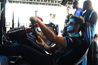 Mitch Evans, Panasonic Jaguar Racing, on the eRace simulators