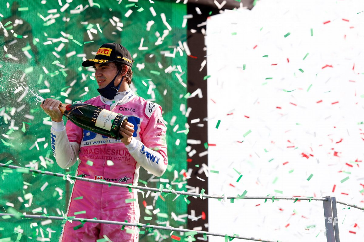 Podio: tercer lugar Lance Stroll, Racing Point