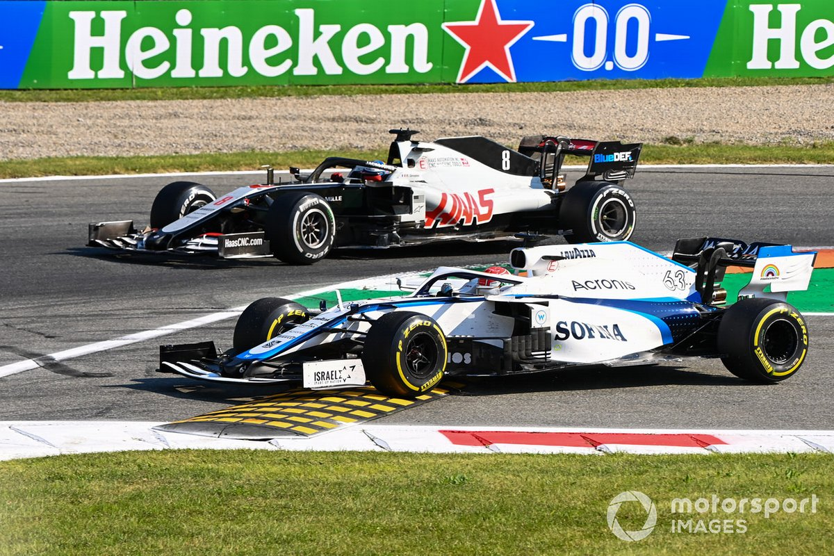 George Russell, Williams FW43, Romain Grosjean, Haas VF-20