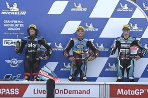 Polesitter Sam Lowes, Marc VDS Racing, second place Marco Bezzecchi, Sky Racing Team VR46, third place Fabio Di Giannantonio, Speed Up Racing