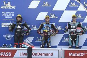 Polesitter Sam Lowes, Marc VDS Racing, secondo classificato Marco Bezzecchi, Sky Racing Team VR46, terzo classificato Fabio Di Giannantonio, Speed Up Racing