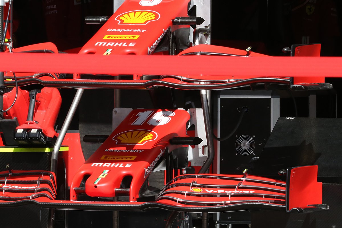 Detalle de los alerones delanteros del Ferrari SF1000