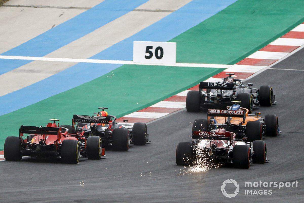 Lewis Hamilton, Mercedes F1 W11, Lando Norris, McLaren MCL35, Max Verstappen, Red Bull Racing RB16, Kimi Raikkonen, Alfa Romeo Racing C39, Charles Leclerc, Ferrari SF1000