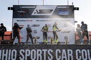 #74 Riley Motorsports Mercedes-AMG GT3, GTD: Lawson Aschenbach, Gar Robinson, #14 AIM Vasser Sullivan Lexus RC-F GT3, GTD: Jack Hawksworth, Aaron Telitz, #16 Wright Motorsports Porsche 911 GT3 R, GTD: Ryan Hardwick, Patrick Long, podium, champagne