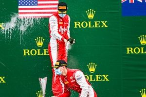 Race Winner Logan Sargeant, Prema Racing and Frederik Vesti, Prema Racing celebrate on the podium with the chamapgne