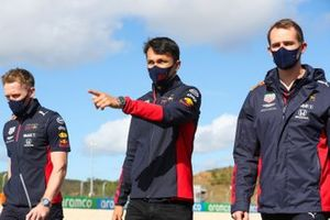 Alex Albon, Red Bull Racing, walks the track