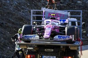 The car of Lance Stroll, Racing Point RP20, on a truck