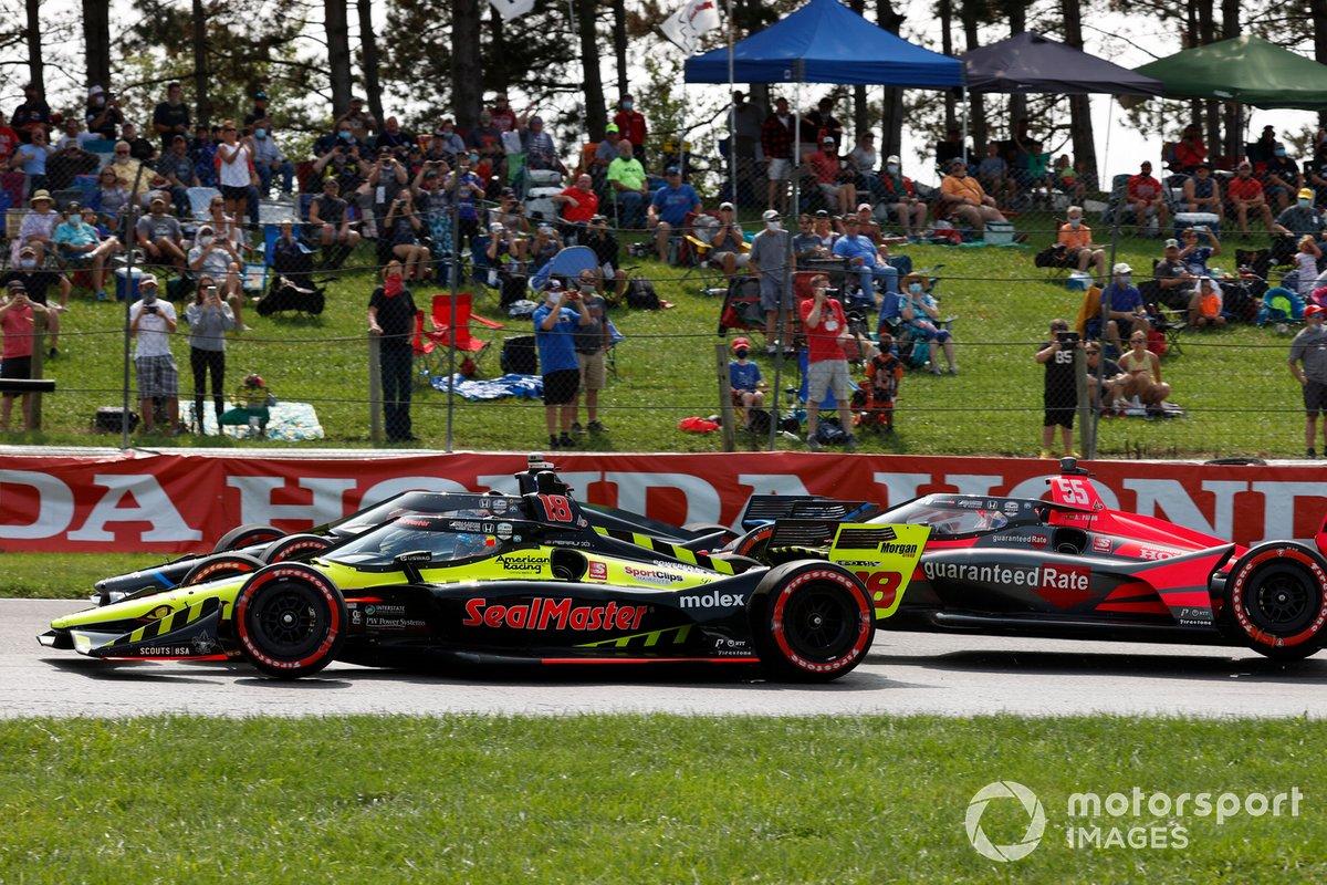 Santino Ferrucci, Dale Coyne Racing with Vasser Sullivan Honda, Felix Rosenqvist, Chip Ganassi Racing Honda, choque