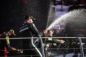 Valtteri Bottas, Mercedes-AMG F1, 2nd position, sprays Champagne on the podium