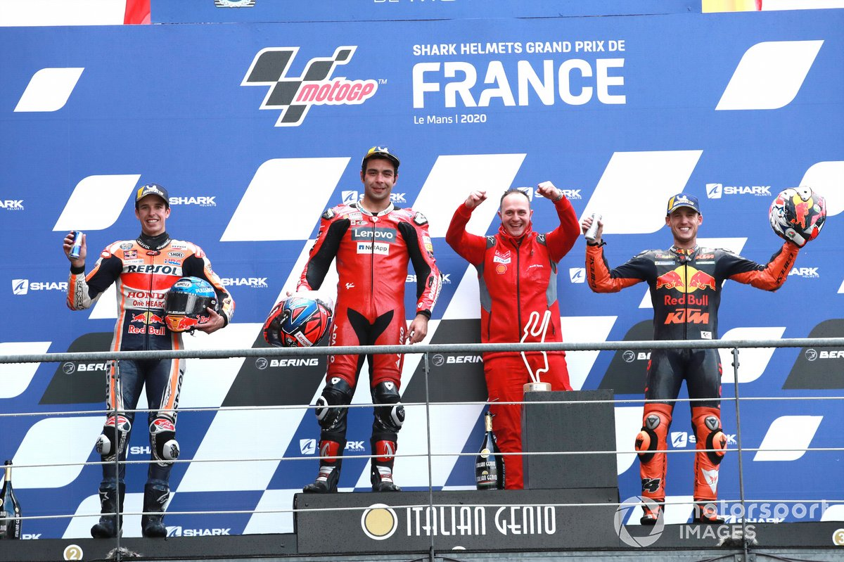 Podio: segundo lugar Alex Márquez, Repsol Honda Team, ganador Danilo Petrucci, Ducati Team, tercer lugar Pol Espargaró, Red Bull KTM Factory Racing