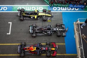 The cars of Lewis Hamilton, Mercedes F1 W11, 1st position, Max Verstappen, Red Bull Racing RB16, 2nd position, and Daniel Ricciardo, Renault F1 Team R.S.20, 3rd position, in Parc Ferme