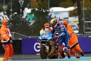 Alex Rins, Team Suzuki MotoGP after crash