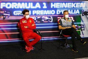 Mattia Binotto, Team Principal, Ferrari, and Mario Isola, Racing Manager, Pirelli Motorsport