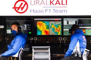 Regenradar op de Haas F1 pit wall