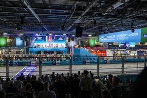 Dilbagh Gill, CEO, Team Principal, Mahindra Racing, Nyck de Vries, Mercedes-Benz EQ, 2nd position, Alex Lynn, Mahindra Racing, 1st position, Mitch Evans, Jaguar Racing, 3rd position
