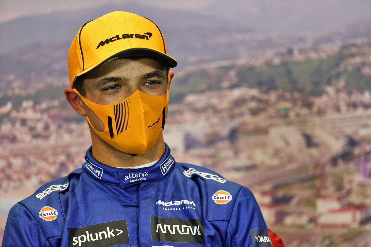 L'uomo della pole Lando Norris, McLaren, nella conferenza stampa post qualifiche
