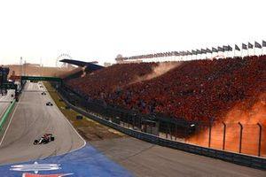 Max Verstappen, Red Bull Racing RB16B, Lewis Hamilton, Mercedes W12, and Valtteri Bottas, Mercedes W12