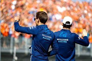 Daniel Ricciardo, McLaren and Nicholas Latifi, Williams on the drivers parade