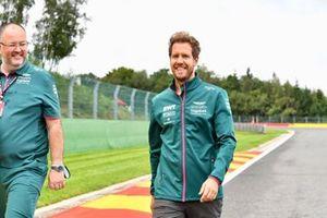 Sebastian Vettel, Aston Martin, walks the track