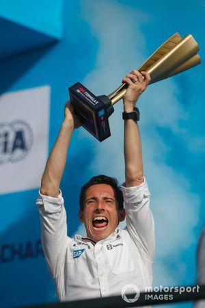 Ian James, Team Principal, Mercedes-Benz EQ, on the championship podium