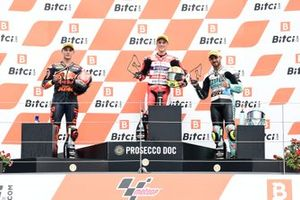 Sergio Garcia, Aspar Team Moto3, Deniz Oncu, Red Bull KTM Tech 3, Dennis Foggia, Leopard Racing podium