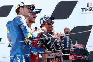 Joan Mir, Team Suzuki MotoGP Francesco Bagnaia, equipo Ducati, Marc Márquez, equipo Repsol Honda
