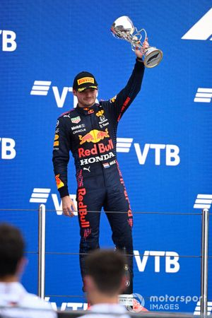 Max Verstappen, Red Bull Racing, 2nd position, lifts his trophy