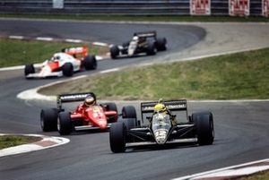 Ayrton Senna, Lotus 97T Renault en Michele Alboreto, Ferrari 156/85