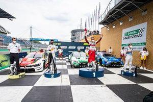 Podium: Race winner Nico Müller, Audi Sport Team Abt Sportsline, second place Sheldon van der Linde, BMW Team RBM, third place Robin Frijns, Audi Sport Team Abt Sportsline