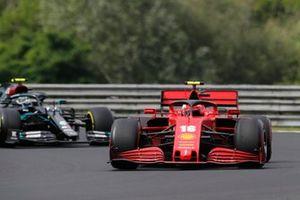Charles Leclerc, Ferrari SF1000, leads Valtteri Bottas, Mercedes F1 W11