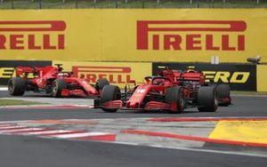 Charles Leclerc, Ferrari SF1000 Alex Albon, Red Bull Racing RB16 and Sebastian Vettel, Ferrari SF1000