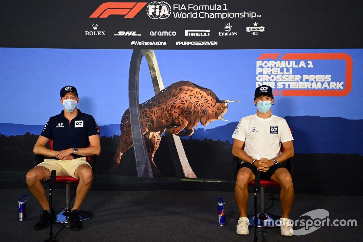 Daniil Kvyat, AlphaTauri and Pierre Gasly, AlphaTauri in the press conference