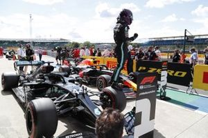 Lewis Hamilton, Mercedes-AMG F1, celebrates pole postion in parc ferme