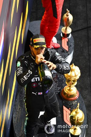 Lewis Hamilton, Mercedes-AMG F1, 1st position, drinks Champagne on the podium