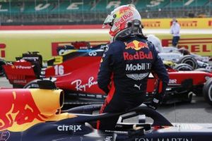Max Verstappen, Red Bull Racing, exits his car in parc ferme