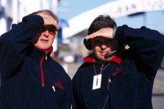 Dr Harvey Postlethwaite, Honda technical director and Rupert Manwaring, Honda team manager watch the progress of the Dallara-built Honda RA099 test car