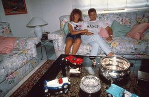 Nicola Larini with his wife