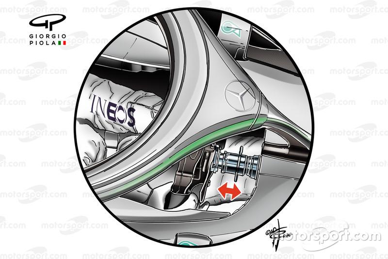 Detalle de la dirección DAS del Mercedes AMG F1 W11