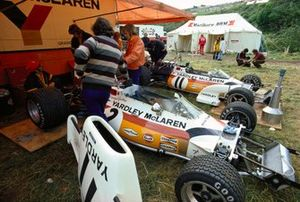 The McLaren M19C Fords in the paddock area