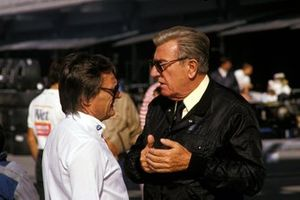 Bernie Ecclestone, Brabham Team Owner talks with Jean-Marie Balestre, President of FISA
