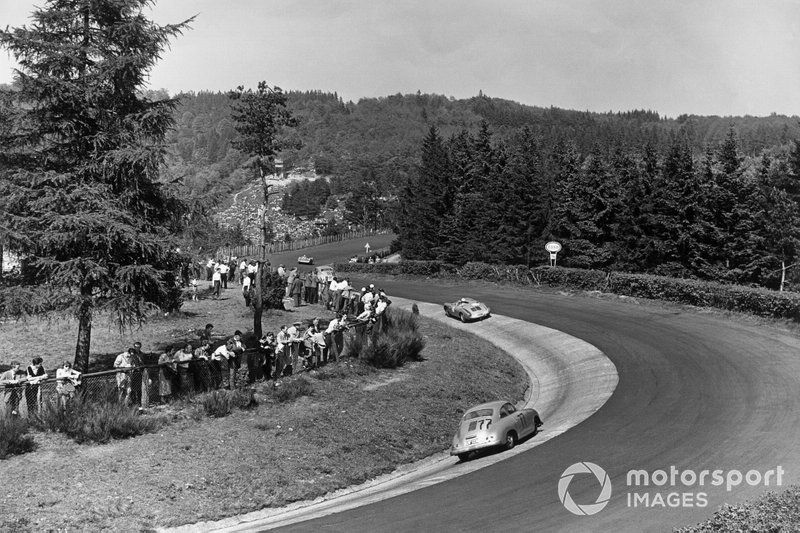 1956 Nurburgring 1000: Sepp Greger, Harald von Saucken, Porsche 356 follows Mathieu Hezemans, Carel Godin de Beaufort, Porsche 550 Spyder
