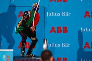 Antonio Felix da Costa, DS Techeetah, 2nd position, sprays champagne on the podium