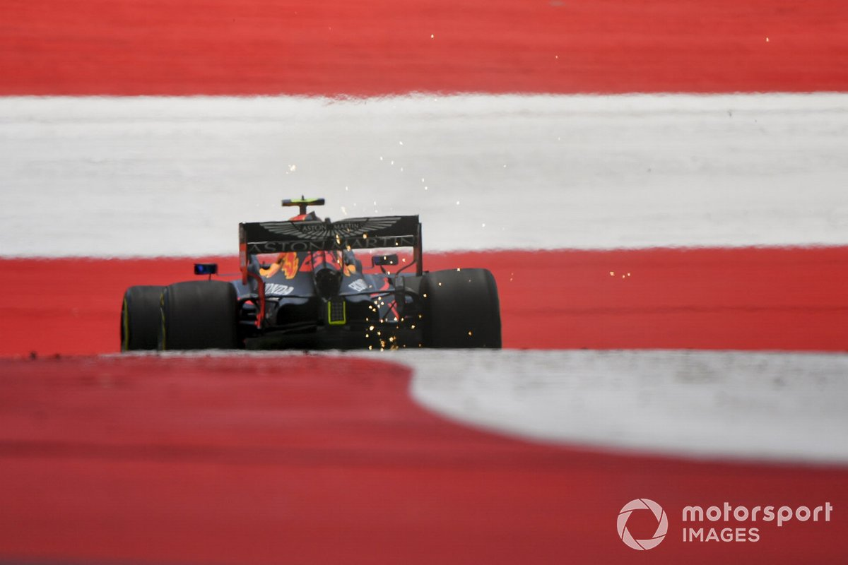 Sparks kick up from Alex Albon, Red Bull Racing RB16