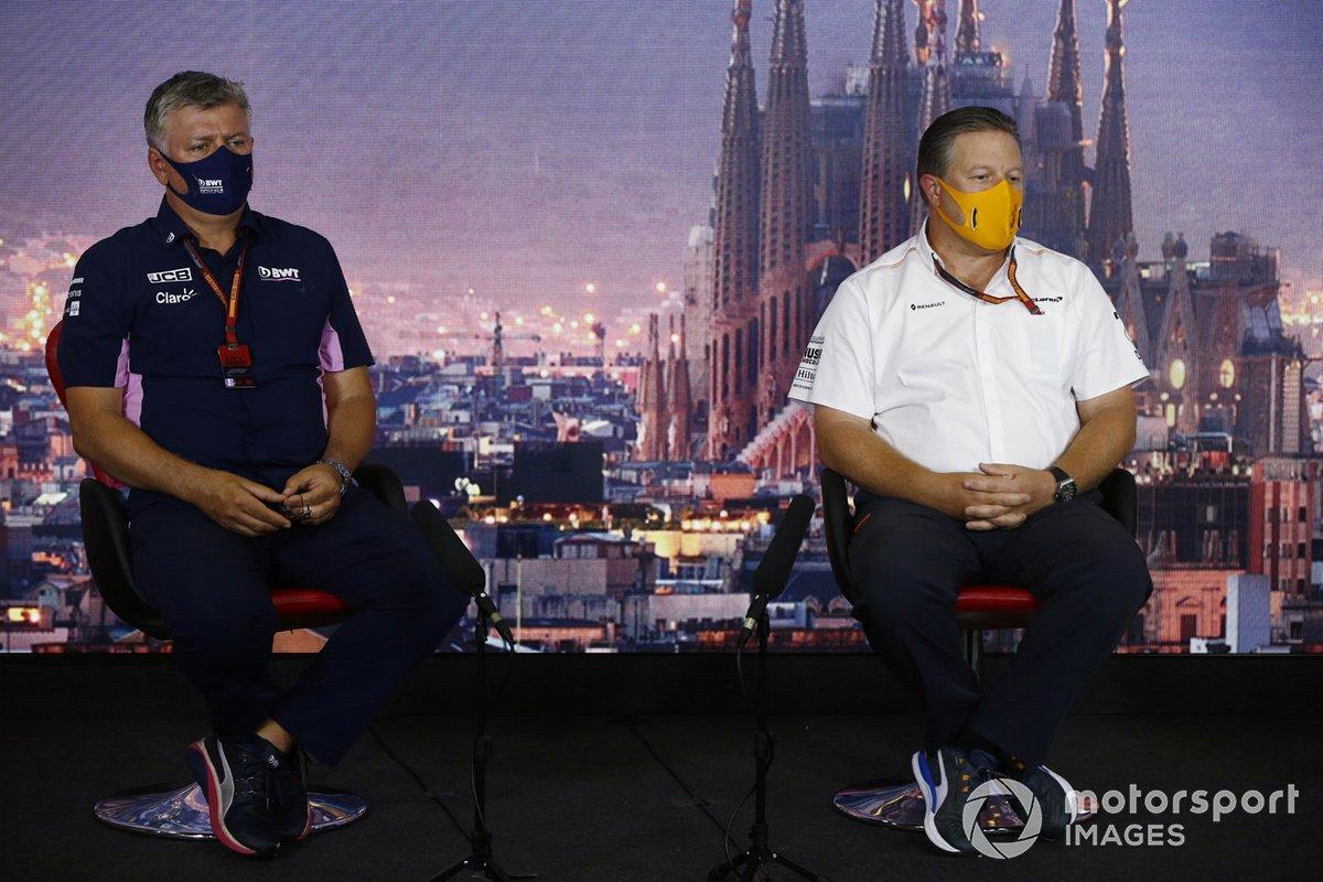 Otmar Szafnauer, Team Principal and CEO, Racing Point and Zak Brown, Executive Director, McLaren