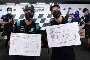 Franco Morbidelli, Petronas Yamaha SRT, Fabio Quartararo, Petronas Yamaha SRT con los dibujos del circuito que hicieron con los ojos cerrados