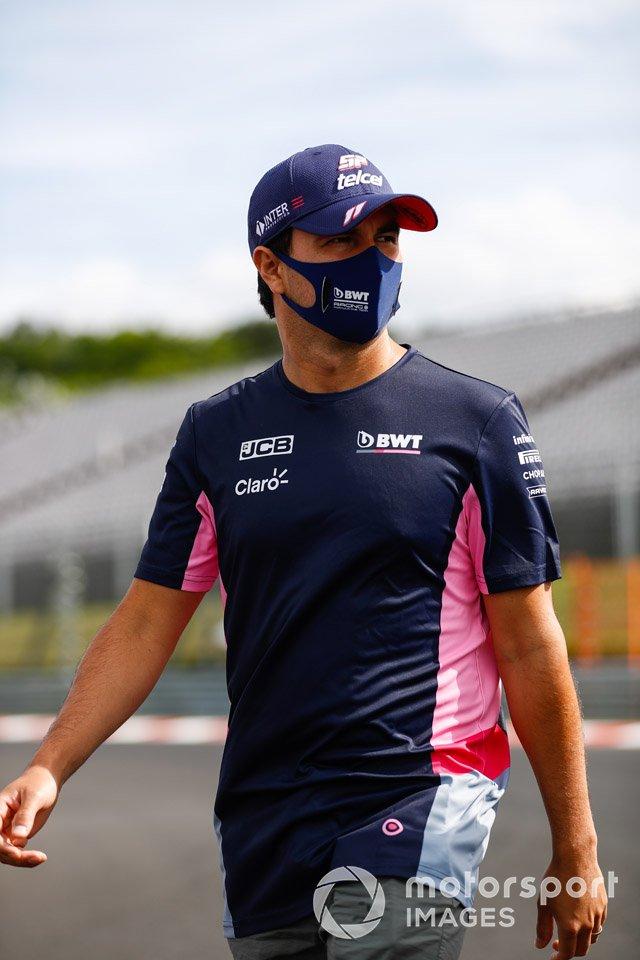 Sergio Perez, Racing Point, walks the track