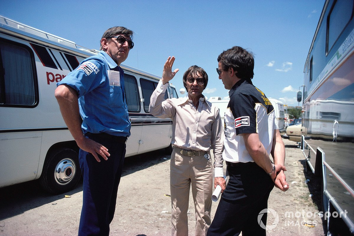 Ken Tyrrell, Bernie Ecclestone (Brabham team owner and FOCA spokesman) and Jackie Oliver, discussing issues between FISA and FOCA