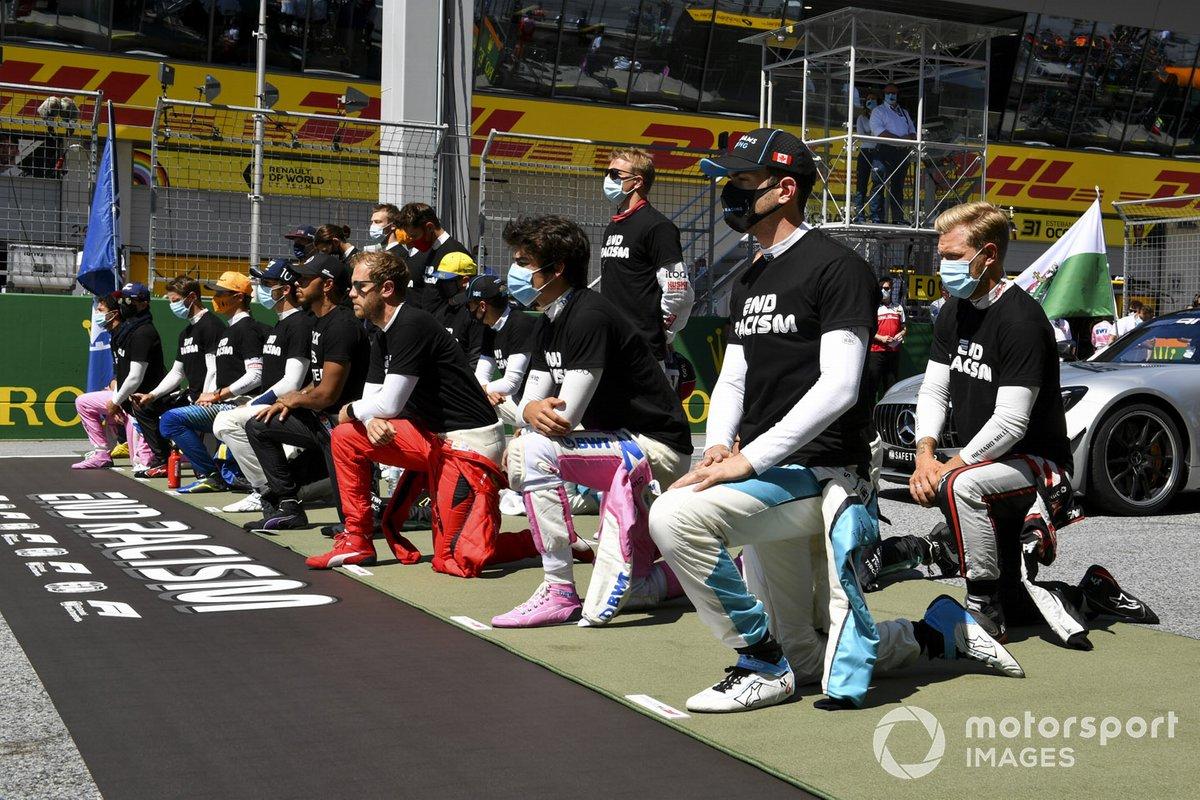 Los pilotos de F1 se arrodillan en Austria